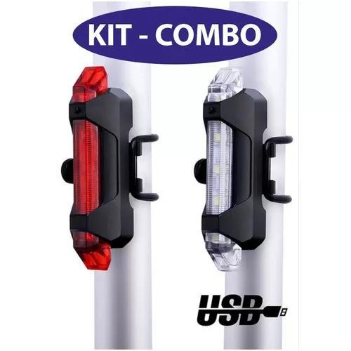 Kit 4 luz lanterna e farol bike bicicleta recarregavel led