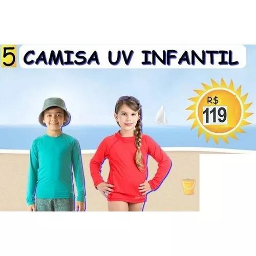 Atacado 5 cinco camisa infantil criança proteção uv solar 8f454f315335f
