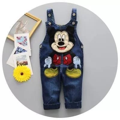 Jardineira jeans macacão disney mikey menino conjunto bebe