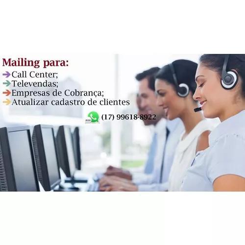 Mailing para call center, televendas,