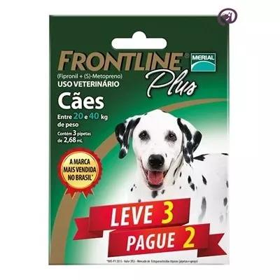 Combo Frontline Plus Cães 20 A 40kg Merial 3 Pipetas