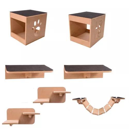Kit nicho play gatos 7 pcs toca,escada,ponte,prateleira mdf