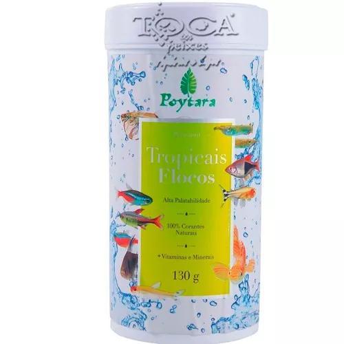 Ração para peixes poytara tropical flocos 130gr