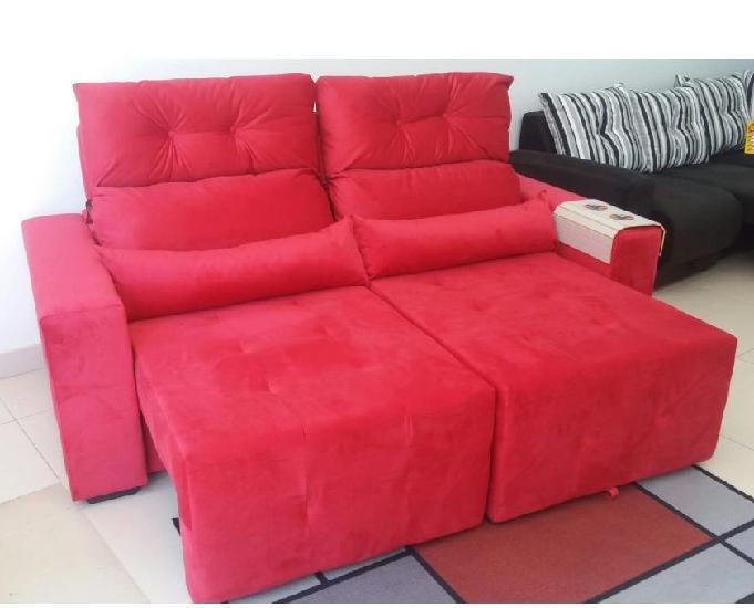 Sofa reto horizontal retrátil e reclinavel