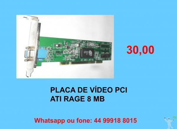 30,00 placas vídeo pci