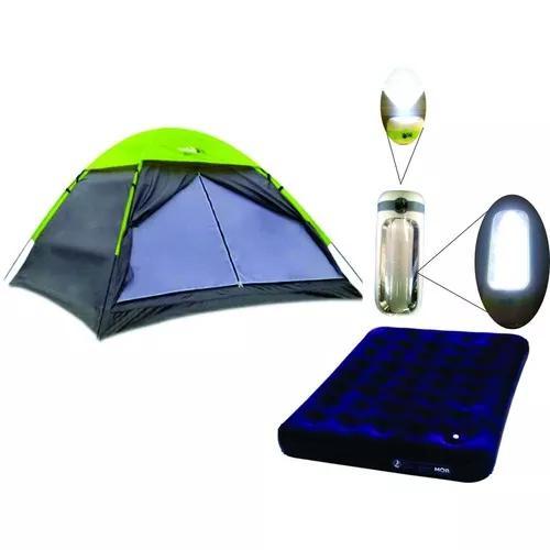 Barraca camping 3 pessoas weekend c/colchao casal + lanterna