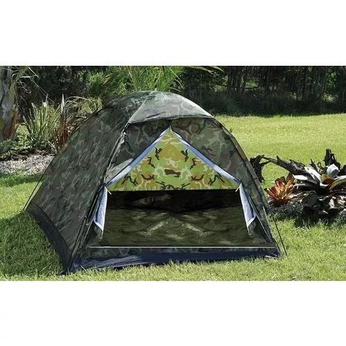 Kit 2 barracas camping camuflada militar 6 lugares + frete