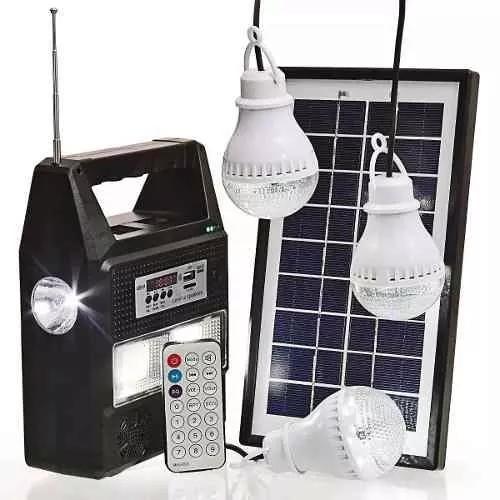 Kit 3 lâmpadas led placa solar fm usb mp3 bateria portatil