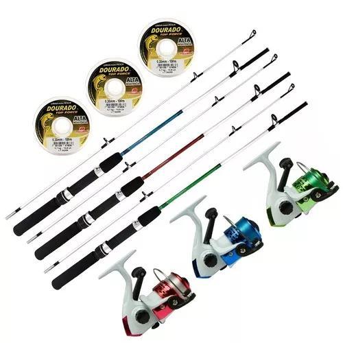 Kit pesca 9 peças 3 molinetes sumax 3 varas 20lb 3 linhas