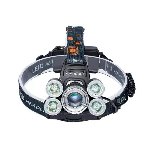 Lanterna cabeça c/ 5 led cree t6 profissional swat tática