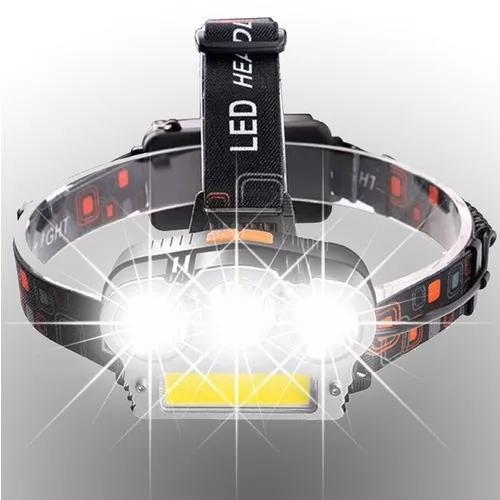 Lanterna cabeça recarregavel triplo led t6 + cob - 15000lm