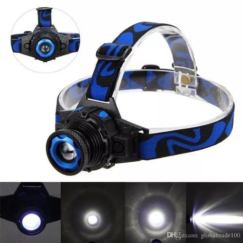 Lanterna de cabeça led t6 recarregavel zoom c/ bateria