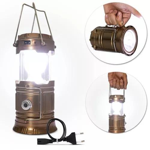 Luminária led retrátil lampião solar recarregável bivolt