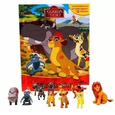 Livro com 12 miniaturas - a guarda do leao amigos da selva