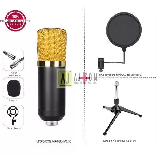 1 kit microfone gravação bm 700+mini tripé+pop filter 6''