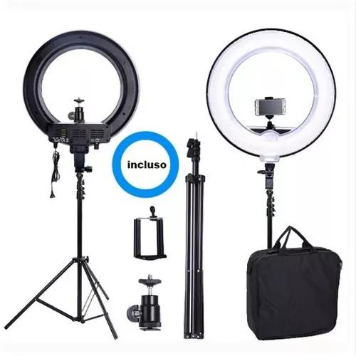 Kit completo ring light c/ tripé dimmer youtuber selfie pro