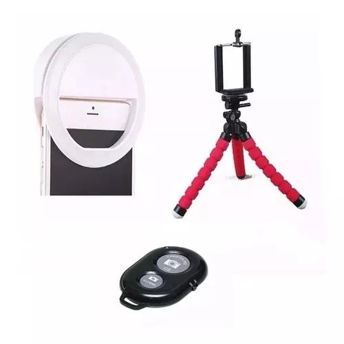 Luz anel led ring light celular+ mini tripé flexível