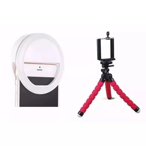 Mini tripé flexivel + luz anel de led ring light celular