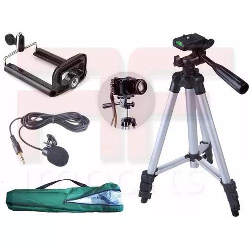 Tripé câmera celular 1,30 m + microfone lapela + suporte