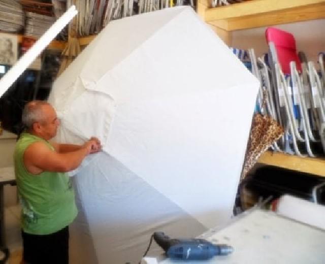 Conserto de guarda sol ombrelone de madeira