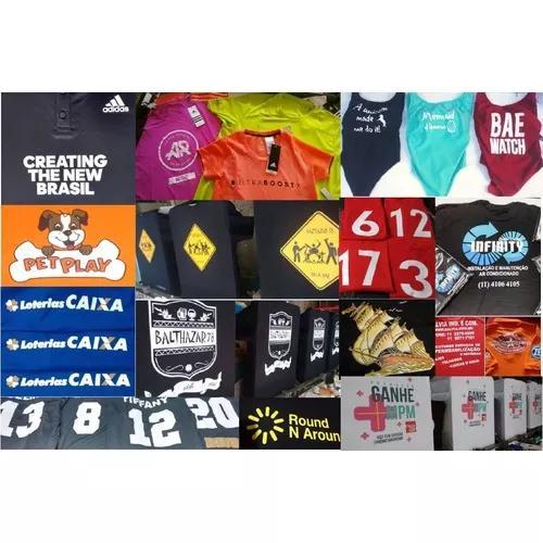 Serviços de estamparia, silkscreen, camisetas promocionais.