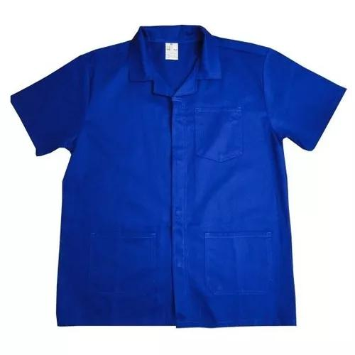 Jaleco de brim uniforme manga curta azul tamanho gg