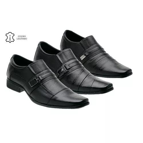 Kit 3 pares sapato masculino couro legitímo frete grátis