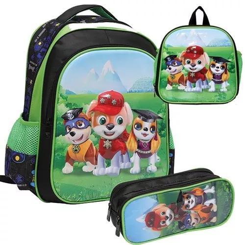 Kit mochila de costas para crianças infantil lanch+estojo