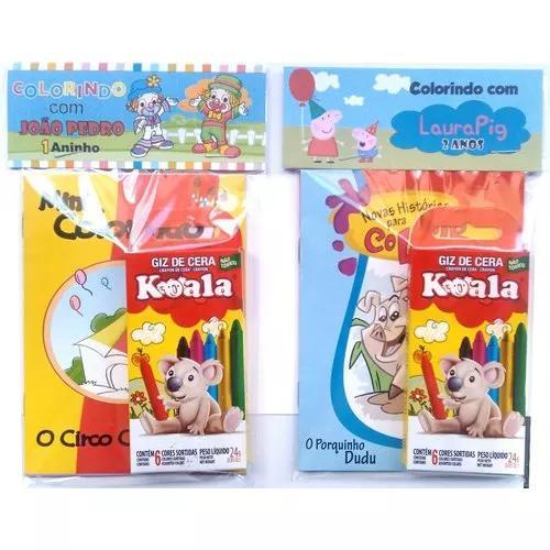 30 kits livro de colorir + giz c/