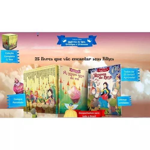 Coleção folha reis príncipes e princesas 25 livros c/ box