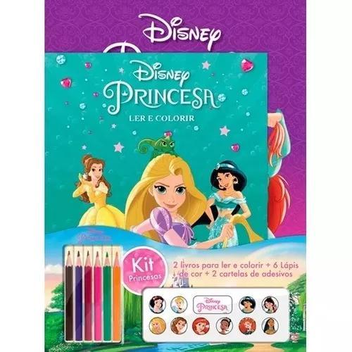 Kit 2 livros de colorir princesas + 6 lápis + adesivos