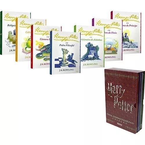 Kit coleção de livros harry potter +box guia