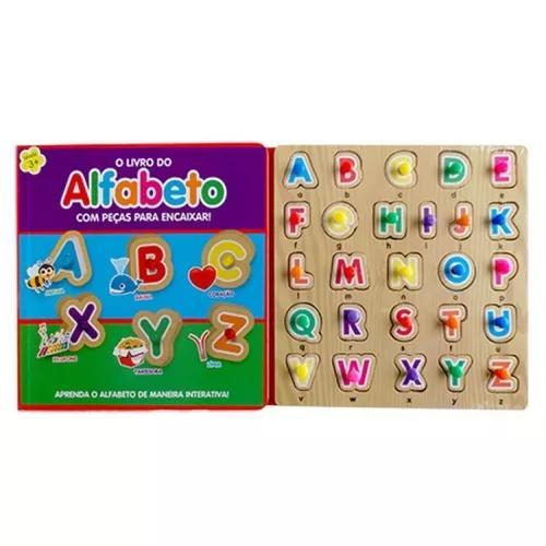 Kit livros peças para encaixar o livro do alfabeto +