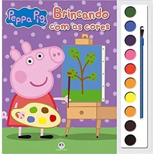 Livro aquarela - peppa pig brincando com as cores