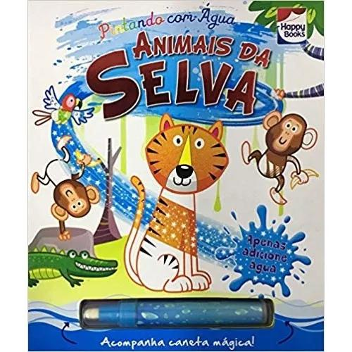 Livro pintando com agua - animais da selva