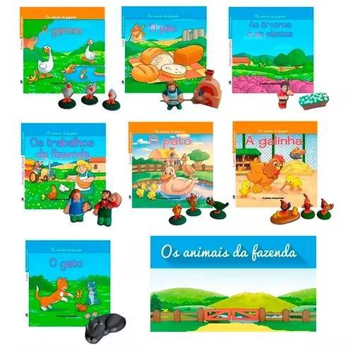 Livros + miniaturas animais da fazenda gato cão casa 9 vols