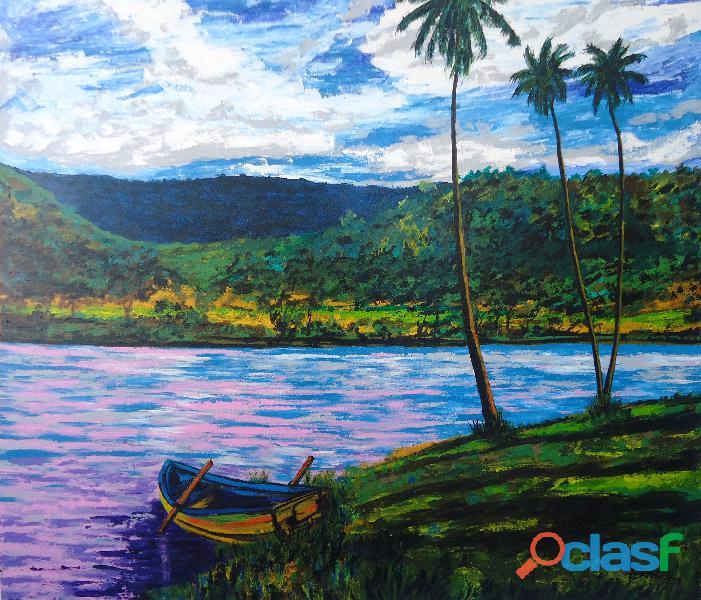 Lindo quadro de paisagem para sala pintado a mão 79 x 91 cm