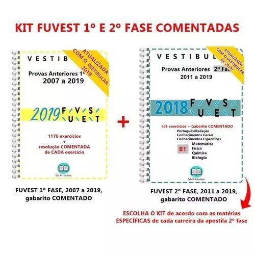 Kit fuvest 1 e 2 fase biológicas + gabarito comentado