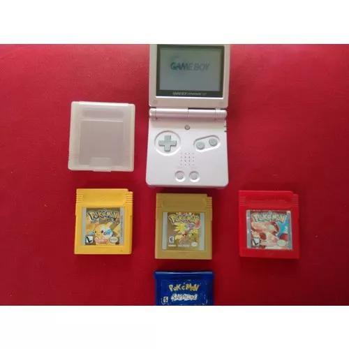 Game boy advance sp 001 + coleção de jogos pok