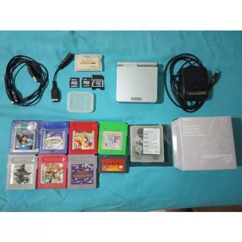 Game boy advance sp + flashcard + cartuchos + acessórios