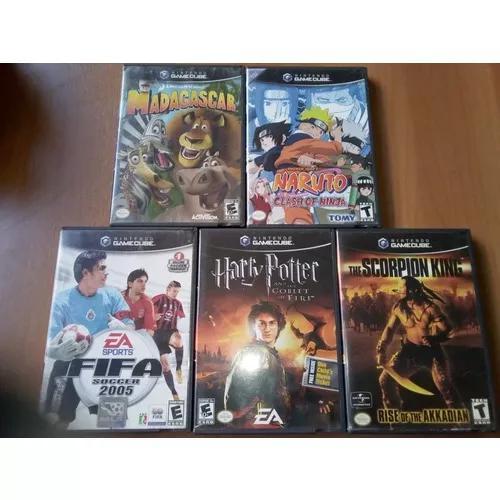 Lote 5 jogos originais nintendo gamecube fifa naruto harry