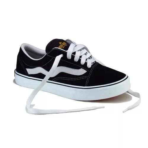 Tênis de skate old school mad rats preto branco original bc3267d207e0c