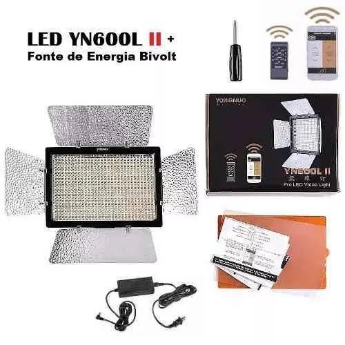 Iluminador de led yongnuo yn-600l ii c/ fonte e nfe