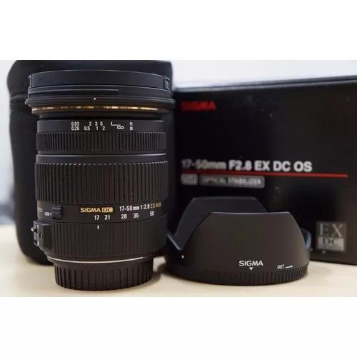 Sigma 17-50mm f2.8 ex dc os hsm + parasol (p/ canon)