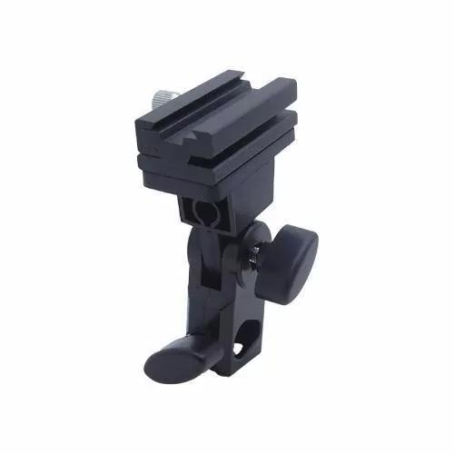 Suporte cabeça p/ flash sombrinha hotshoe flashlight holder