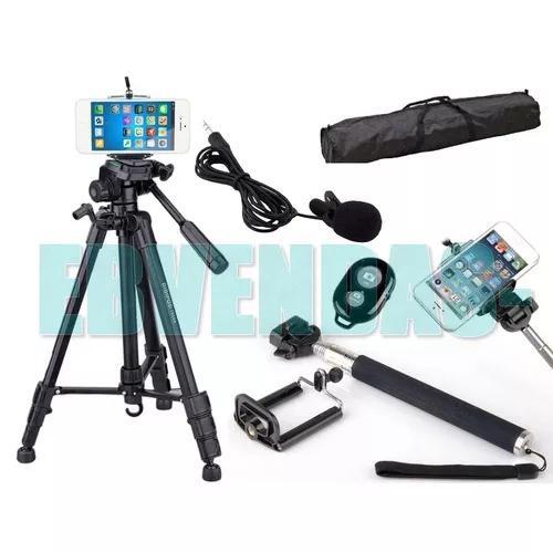 Tripé celular universal 1,80 + kit selfie + microfone