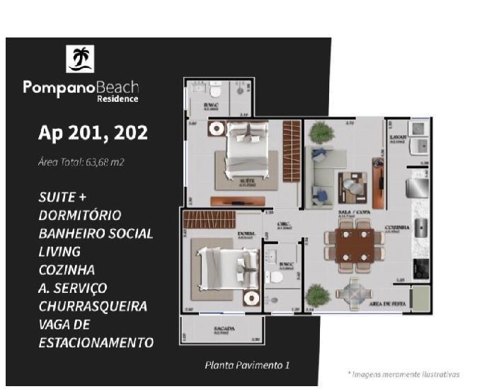 Apartamento novo em rua calçada 550 metros do mar
