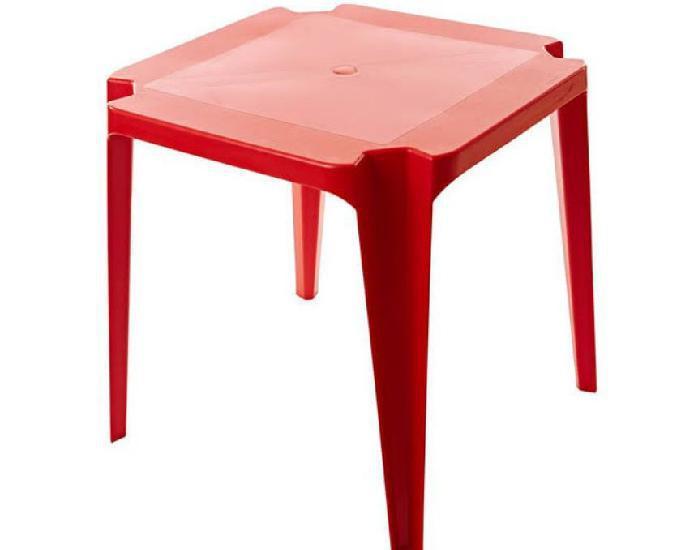 Jogo de mesa e cadeiras plástica cor vermelha