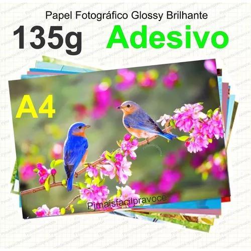 100 folhas papel foto glossy adesivo à prova d'água a4