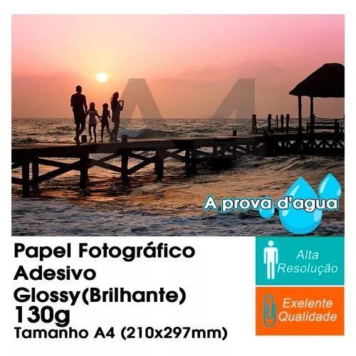 300 fl papel foto glossy adesivo 130g brilho prova d'agua a4
